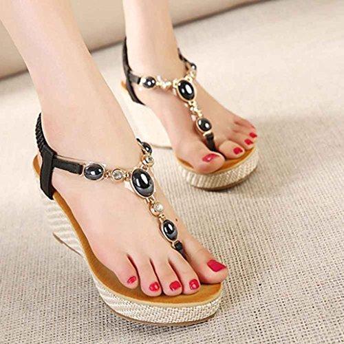 3ab66daf9 free shipping AMA(TM) Women Bohemian Beaded Sandals Wedges High Heels Clip  Toe Sandals