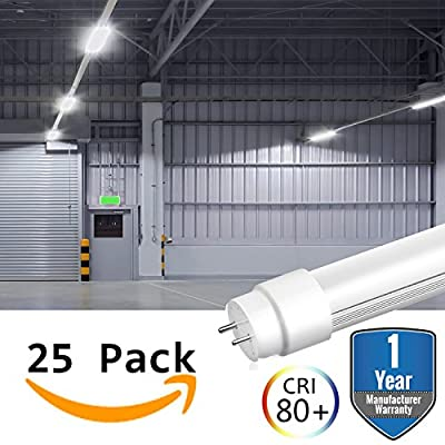 25 Pack LED T8 Tube Light Bulbs 4FT 4 Foot G13 Base 18W 6500K 2000 Lumens (45W Equivalent) Milky Lens Lighting Dual Ended Ballast Bypass Fluorescent Industry Warehouse Shop Garage Replacement …