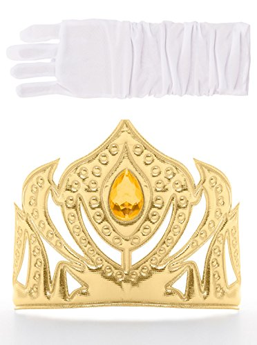 [Little Adventures Scandinavian Princess Gold Crown & White Glove Set for Girls - One-Size (3+ Yrs)] (Princess Jasmine Costumes Tiara)
