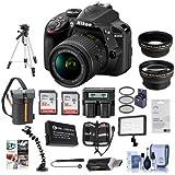 D3400 DX-Format DSLR Camera Body with AF-P DX NIKKOR 18-55mm F/3.5-5.6G VR Lens - Black - Bundle With 16/32GB SDHC Card, Camera Bag, Spare Battery, Tripod, Video Light, Software Package, More