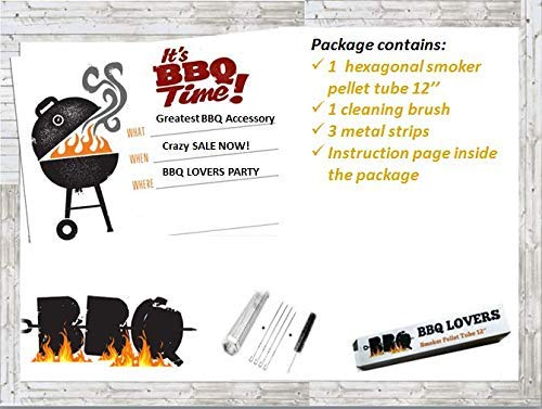 BBQ LOVERS Mega Sale Now Premium Smoker Tube Pellet 12'' Up to 5 Hours of Smoking in Hexagonal Shape Stainless Steel.Cleaning Brush and 3 Metal Strips for Free- Instructions Inside The Package