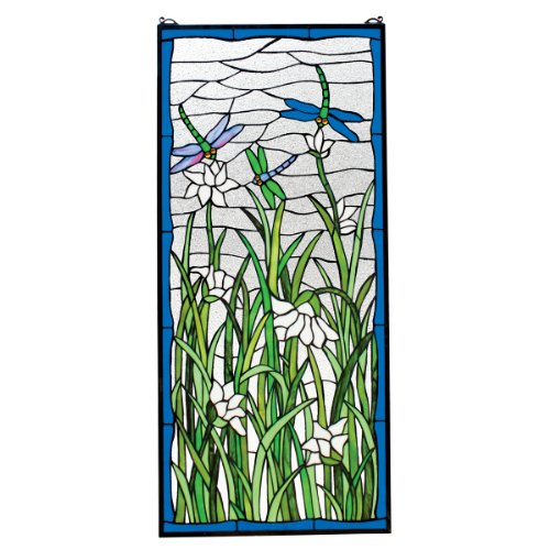 Design Toscano Dragonfly Dance Stained Glass Window Hanging Panel, 40 Inch, Grass Green