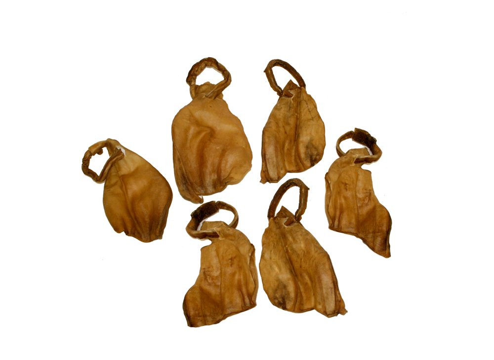Outback Jack Water Buffalo Ears With Bully Stick Ring 100% Natural Dog Treats, Natural Brown (12 Pack Dog Treats)