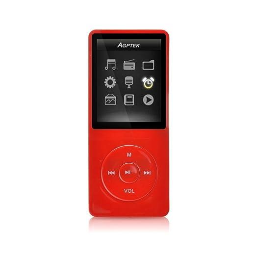 """68 opinioni per AGPTek- A02 IL lettore MP3 8 GB schermo 1,8"""" con Radio e registratore, Rosso"""