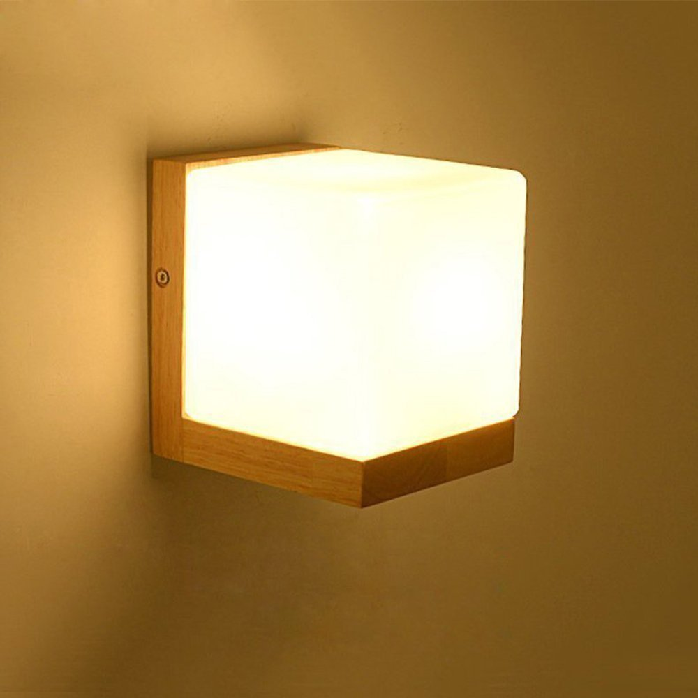 Modeen Simple White Glass Wall Lamp E27 Lighting Wooden Cube Edison Wall Sconces Light Modern Decorating Living Room Bedroom Bedside Lamp