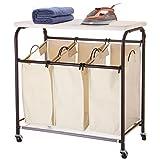 Ollieroo Classic Rolling Laundry Sorter Cart Heavy Duty 3 Bags Laundry Hamper Sorter with Ironing Board (Beige)