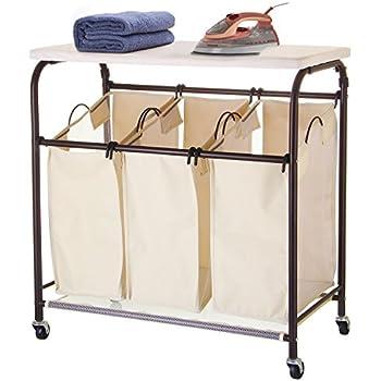 ollieroo classic rolling laundry sorter cart heavy duty 3 bags laundry hamper sorter with ironing board beige