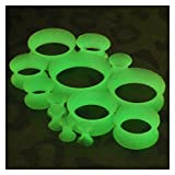 1 Pair Thin Flexible Silicone Ear Skin Tunnels Plugs Ear Gauges Earskin Earlets Glow in the dark,00g (10mm),