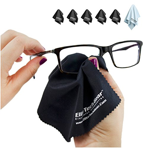 "EliteTechGear Most Amazing Microfiber Cleaning Cloths (6 Pack). Perfect For Cleaning Eyeglasses, All LCD Screens, Tablets & Other Delicate Surfaces (5 Large 6x7"" & 1 OVERSIZED 12x12""). 100% Satisfaction Guaranteed."