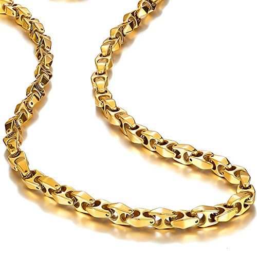 (Urban Jewelry Unique Astro Snake 22 Inches Men's Tungsten Golden Toned Link Necklace Chain (Heavy, Solid))
