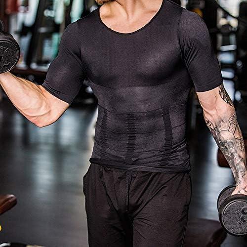 CHJMJP 2019男性ボディシェイパータイトなスキニーノースリーブシャツフィットネス弾性美容腹部タンク形状ベストスリミングおっぱいジムベストトップス (Color : 94 White, Size : M)