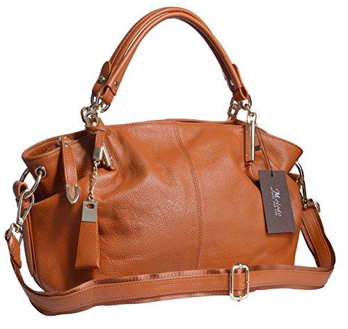 Molodo Women's Big Handbag Genuine Leather Tote Shoulder Bags Lady Purse Brown