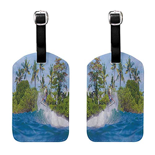 Travel ID Bag Tag Ride The Wave,Surfer in Ocean by Bali Island Palm Trees Dreamy Nature Scenery,Fern Green Violet Blue for cruise ships