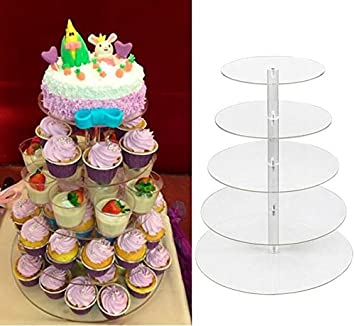 Amazon.com | Yaheetech 5 Tier Round Clear Acrylic Cupcake Stand ...