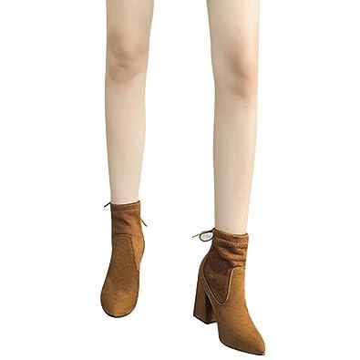 79fe396f6ba AILINGTT Ankle Boots Fashion Women's Lace-up Shoes Square Heels ...