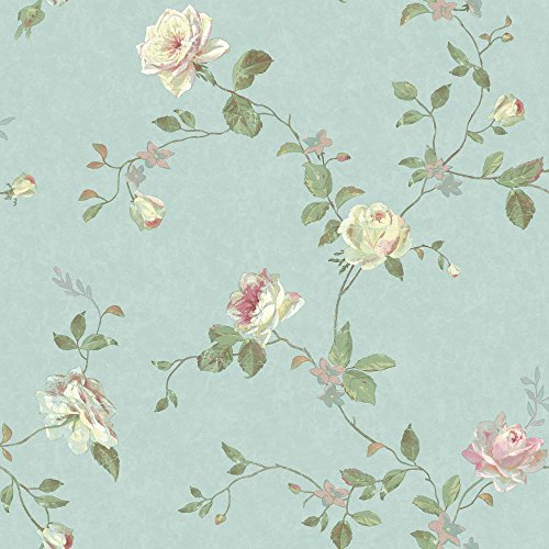 York Wallcoverings SH5509 Vintage Luxe Floral Trail Wallpaper, Pale Blue, Green, Pink, Cream, Aqua ()