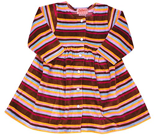 Zutano Chocolate Multi Stripe Velour Dress, 18-24 months