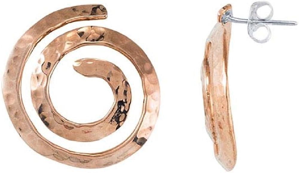 Loop Style Tisoro OMR-675911-C BOHO Copper Hammered Swirl Dangling Circle Stud Earrings 23mm Copper Hoop Dangle Jewelry