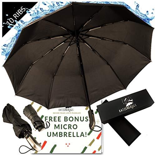 - Compact Windproof Travel Umbrella -FREE Mini Black Umbrella- Katzendaügs 2pc Black