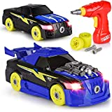 Take Apart Stem Car Robot Toy – 26 Pieces with a Drill & a Screwdriver – Lifelike Lights & Sounds – Educational & Cute Toy- Ages 3 & Up.