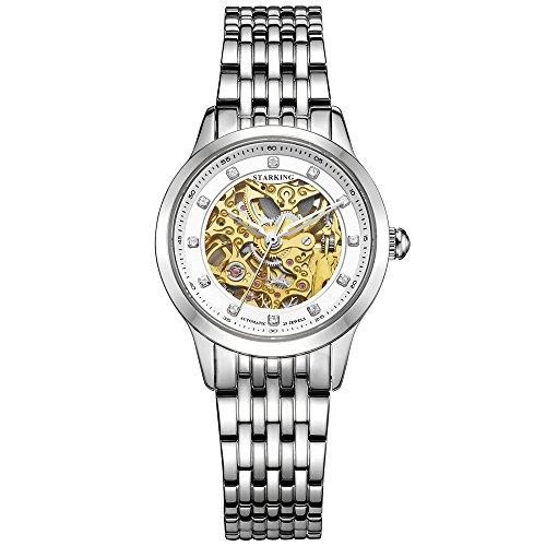 STARKING Women Skeleton Watch Silver AL0188 Self Winding Automatic Sapphire Stainless Steel Diamond Luxury ()
