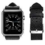 For Apple Watch Band, top4cus Genuine Leather iwatch Strap Replacement Band with Stainless Metal Clasp for Apple Watch Series 3 Series 2 Series 1 Sport and Edition (Breathable Black, 42mm)