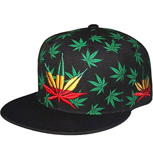 Marijuana-Pot-Leaf-Weed-Cannabis-420-Embroidered-Flat-Bill-Snap-Back-Cap-Black-Rasta