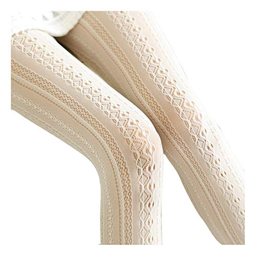 EachEver Women Fishnet Hollow Out Chiffon Lace Stockings Tights Vertical Strips Pantyhose Ivory (Cable Womens Tights)