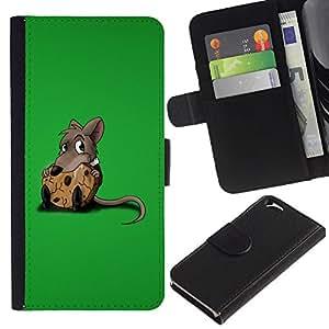 KLONGSHOP // Tirón de la caja Cartera de cuero con ranuras para tarjetas - Rata Roedor gris de la historieta Animación Cute Food - Apple Iphone 6 //