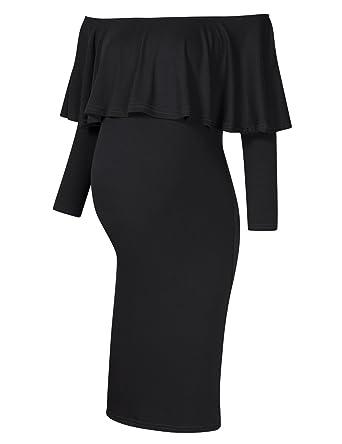 957e6629fc3f9 Coolmee Women's Maternity Dress Off Shoulder Long Sleeve Casual Maxi Dress  (XS, Black-