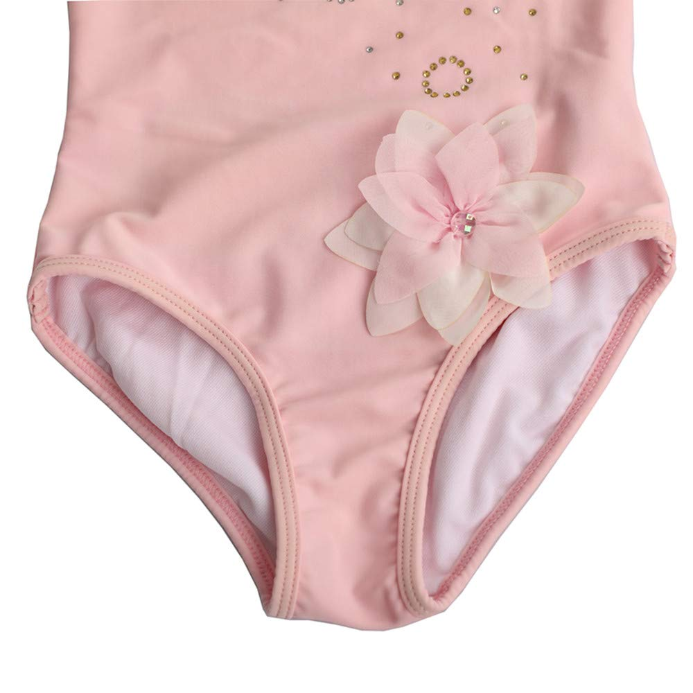 Rosa Lisa Girl Kids One Piece Swimsuit Pink Flower Rhinstone