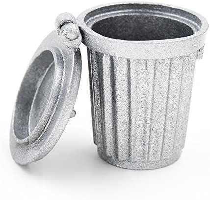 Dollhouse Miniatures 1:12 Scale Stainless Steel Garbage Can #IM66014