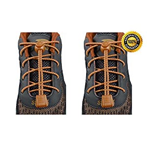 BEST Premium Durable Lock Elastic Shoe Laces – Trim To Fit Any Shoe - For Football Soccer Baseball Tennis Basketball Golf Runners Walking Hiking Cycling – Elastic No Tie Shoelaces (2 Pack Brown)
