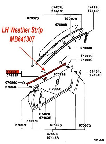 Genuine Mitsubishi Left (Driver) Door Window Side Belt Molding With Weatherstrip Seal MB641307 3000GT Coupe 1991 1992 1993 1994 1995 1996 1997 1998 1999 (Seals Coupe Door Weatherstrip)