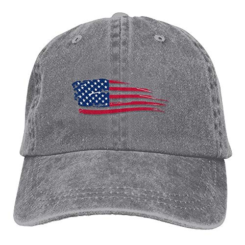 CYANnY American Flag Adjustable B-Boy Cotton Washed Denim Caps Asphalt (Ashes Of American Flags Dvd)