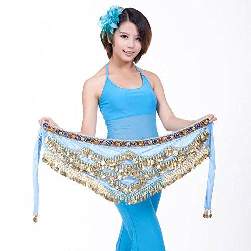 328 Belly B Ceinture Blue Dance avec Écharpe Hip Jupe nbsp;Pièces xY67rqYwp