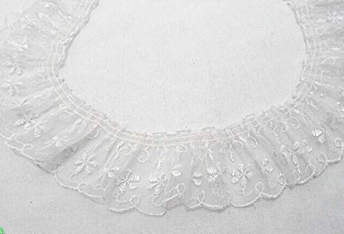 White Black Pink Green Beige Red Blue Lace Gathered Pleated Riband Trim (white color)