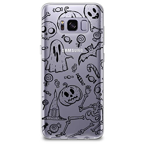 CasesByLorraine Samsung S8 Plus Case, Halloween Pumpkins Ghost Clear Transparent Case Flexible TPU Soft Gel Protective Cover for Samsung Galaxy S8 Plus (2017) (A99) -