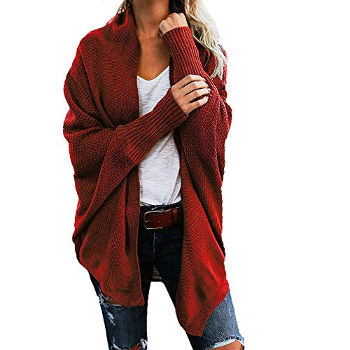 Womens Sweaters,HULKAY Clearance Long Sleeve Solid Color Knitted Shirt Ladies Loose Cardigan Outerwear Sweater -