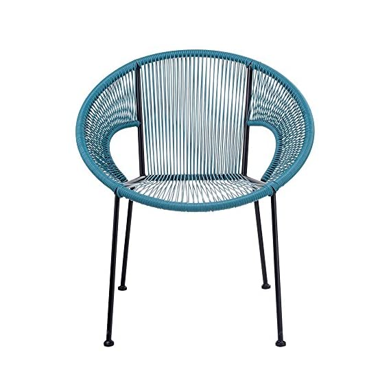 Design Guild Outdoor Chair, Blue - Designed to last, this chair is made of durable, high quality metal and plastic to ensure years of reliable use. The rounded frame provides a stylish look and allows for the ultimate comfort and stability. This versatile chair is perfect for indoor or outdoor use, and can be used for cafes, restaurants, hotels, or home patios. - patio-furniture, patio-chairs, patio - 51tWEmZNwvL. SS570  -