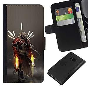 NEECELL GIFT forCITY // Billetera de cuero Caso Cubierta de protección Carcasa / Leather Wallet Case for HTC One M7 // Héroe Guerrero