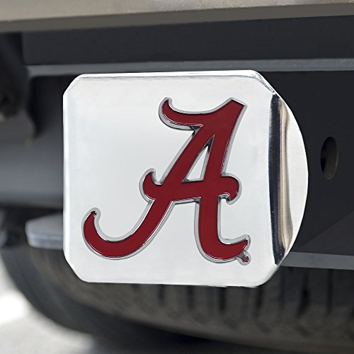 FANMATS NCAA Alabama Crimson Tide Hitch Cover with Color Emblemchrome Hitch Cover with Color Emblem, Chrome, One Size