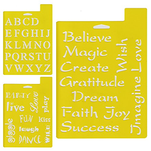 Delta Creative Stencil Mania Stencils, 7 by 10-Inch, 97SM-2190 Fonts and Phrases (3-Pack)