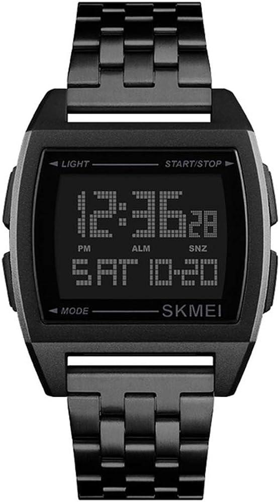 Tayhot Men Stainless Steel Digital Watch,2 Time Waterproof Large Numbers Chronograph EL Backlight Alarm Date Week Display Square Dial Wristwatch for Men, Boys