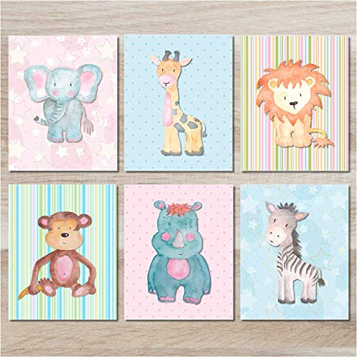 Nursery Wall Decor - Baby Safari Animals Art Prints (Set of 6) - 8x10 - -