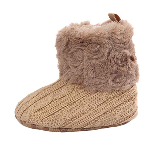 Elevin(TM)Baby Boy Girls Anti-slip Prewalker Soft Crib Shoes Kintted Snow Boots (12~18M, Khaki)
