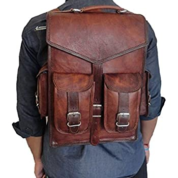 Amazon.com: Vintage Crafts Leather Backpack College Backpack ...