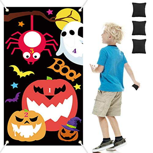 Joyibay Halloween Toss Games with 3 Bean Bags, Fun Halloween Carnival Parties Toss Games Indoor Outdoor Acivities for Kids and Adults Halloween Party Decoration Supply Set