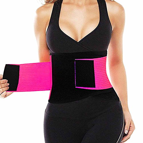 VENUZOR Waist Trainer Belt for Women - Waist Cincher Trimmer - Slimming Body Shaper Belt - Sport Girdle Belt (UP Graded) (Large, Fluorescence Pink) by VENUZOR (Image #3)
