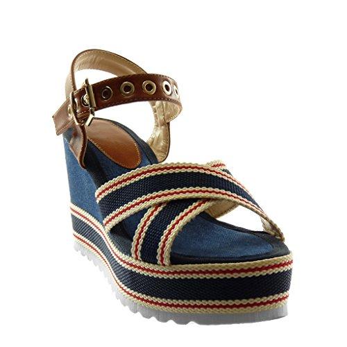 Talon Plateforme Chaussure CM Compensé Plateforme Cheville Mode Bleu Mule Tricolore 10 Angkorly Lanière Femme Boucle Sandale Perforée YZPgdPq